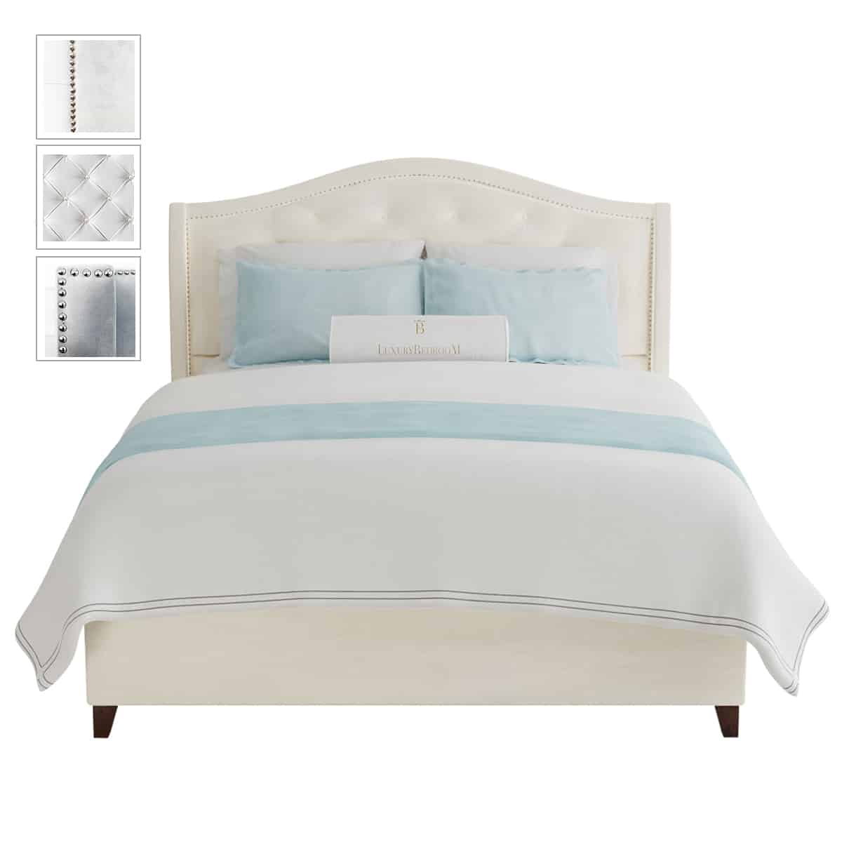 łóżko z zagłówkiem pikowanym
