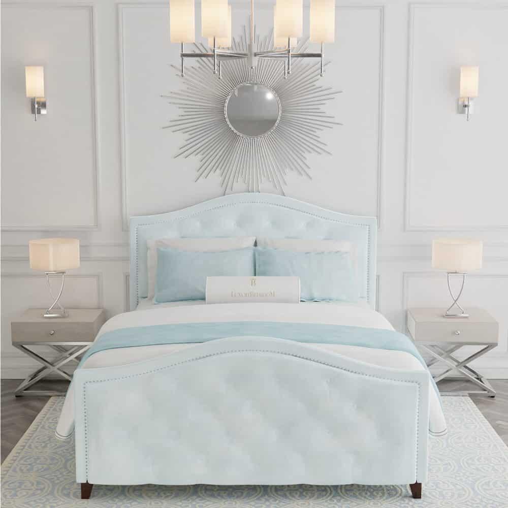 Łóżko tapicerowane w stylu glamour