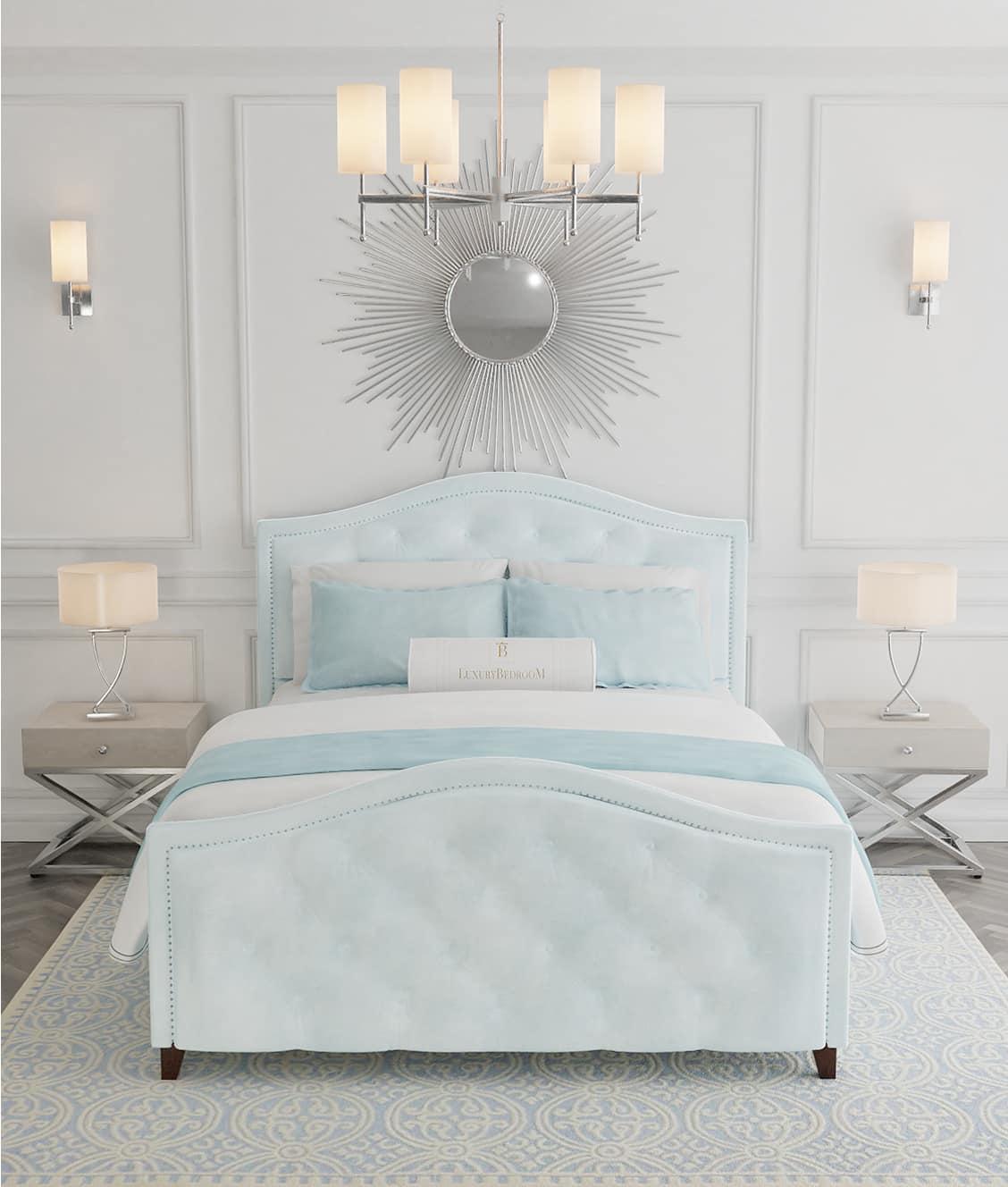 błękitne łóżko tapicerowane z zagłowiem styl New York rozmiar 180x200
