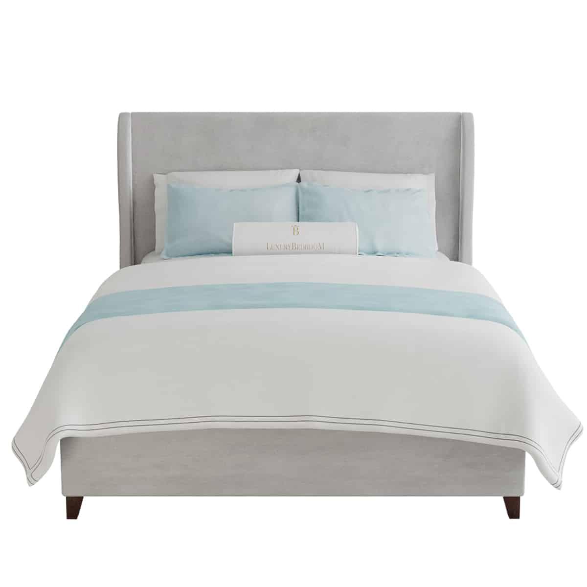 łóżko tapicerowane z zagłówkiem