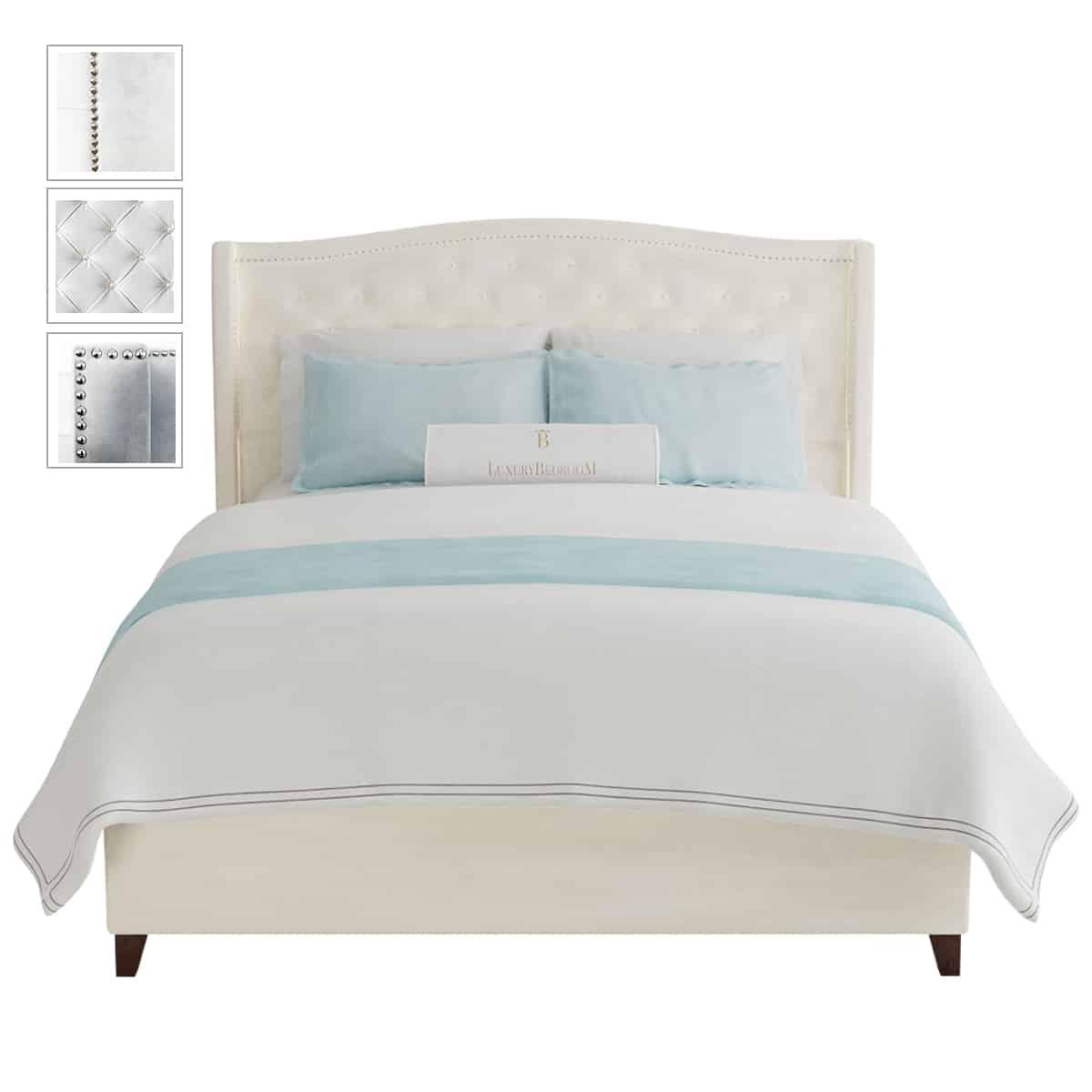 łóżko z miękkim zagłówkiem