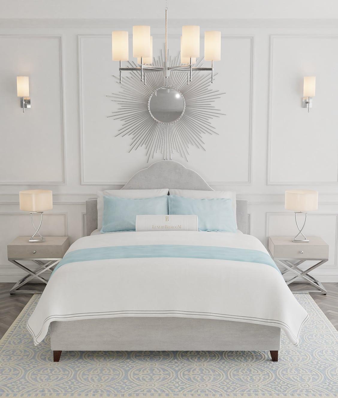 łóżko tapicerowane z wezgłowiem w stylu glamour