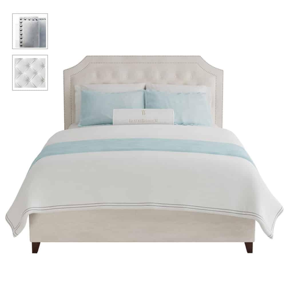 Łóżko tapicerowane w stylu hollywood glamour