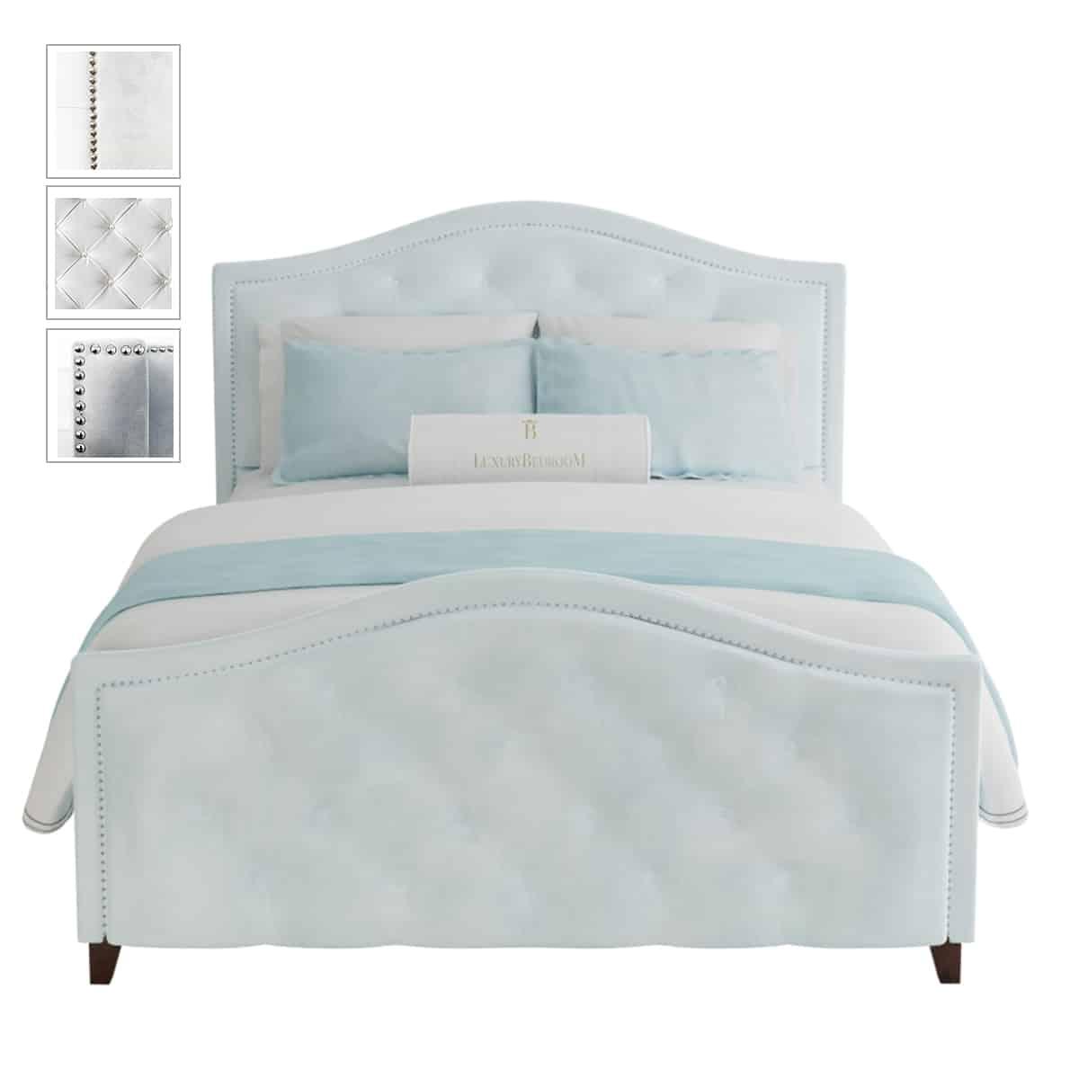 błękitne eleganckie łóżko styl nowojorski