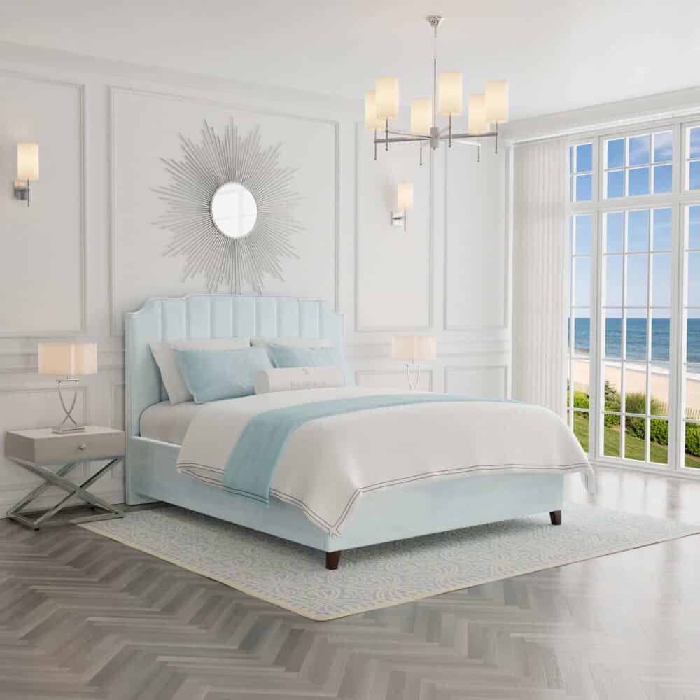 Łóżko tapicerowane Jacob w stylu amerykańskim - blekit z bok