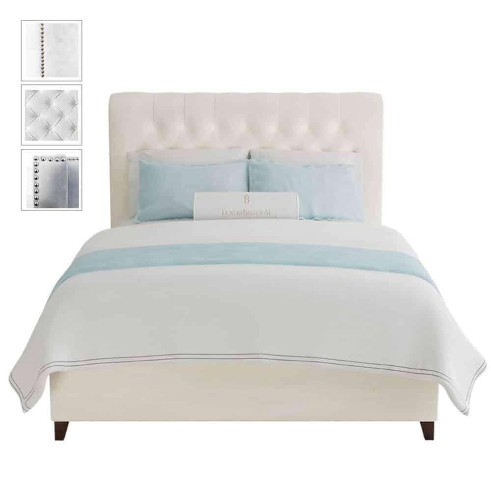 białe łoże małżeńskie tapicerowane w stylu hollywood