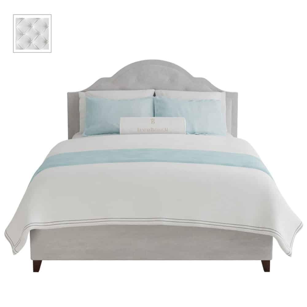białe łóżko w stylu glamour