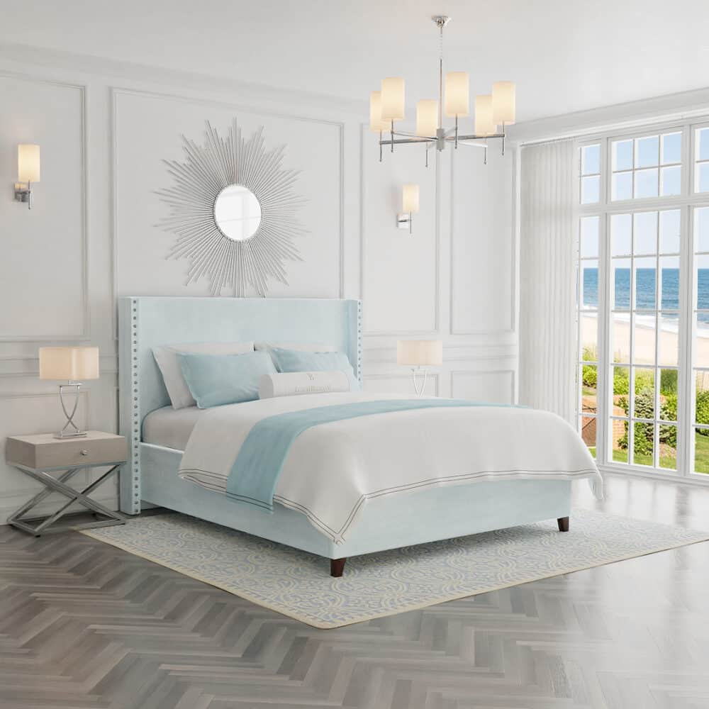 Łóżko tapicerowane w stylu hampton