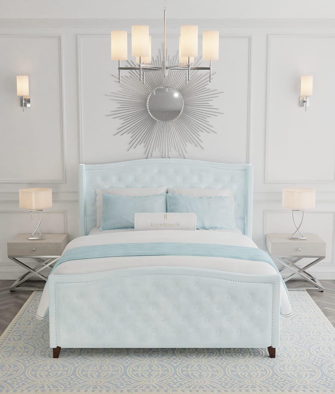 łóżko tapicerowane z wezgłowiem w stylu hollywood glamour