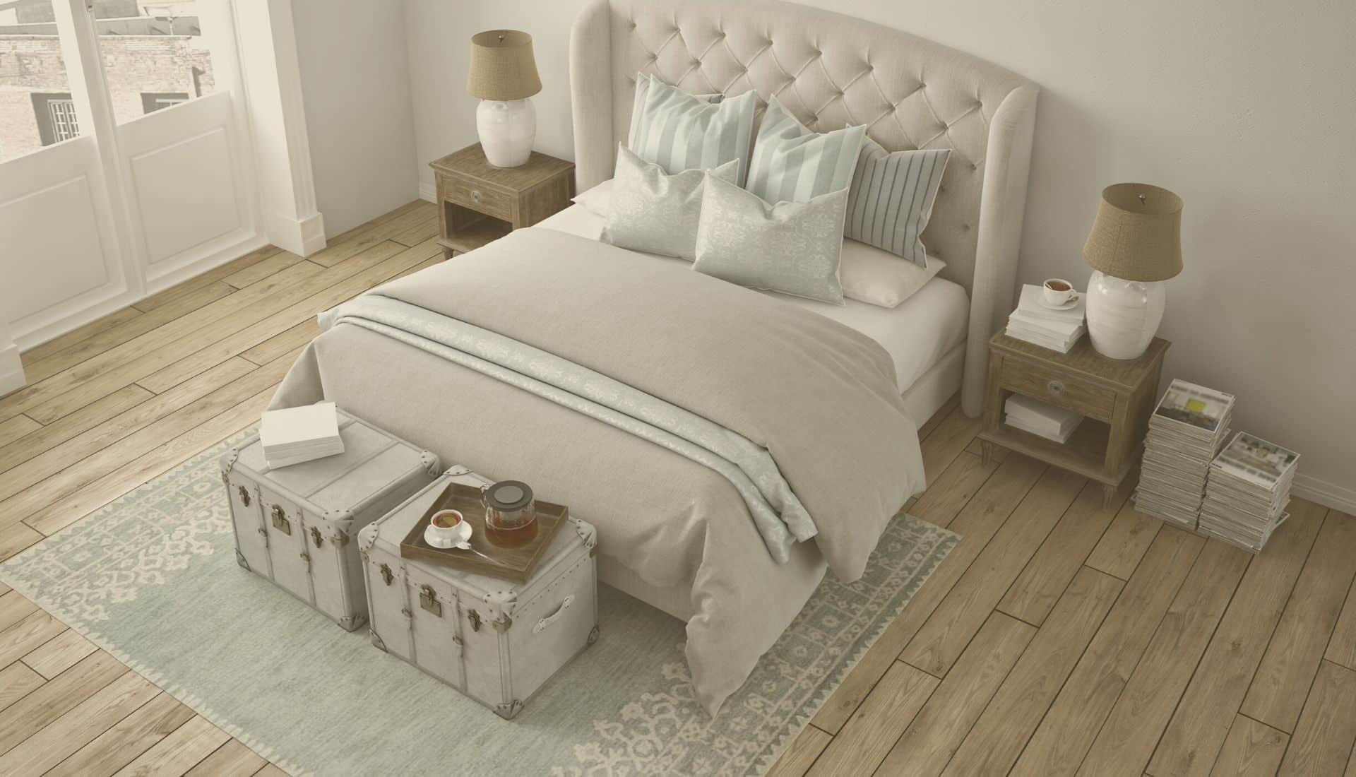Łóżko z tapicerowanym wezłowiem